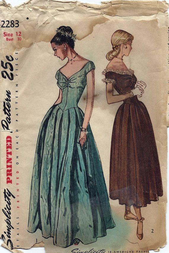 40s Misses Evening Dress Pattern 2283 by AnnesVintagePatterns, $33.00