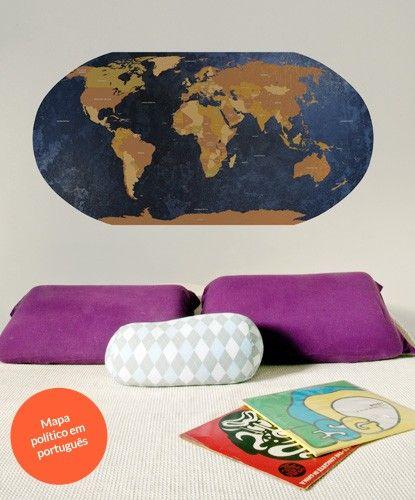 World map mapa mundi adesivo de parede shopkola