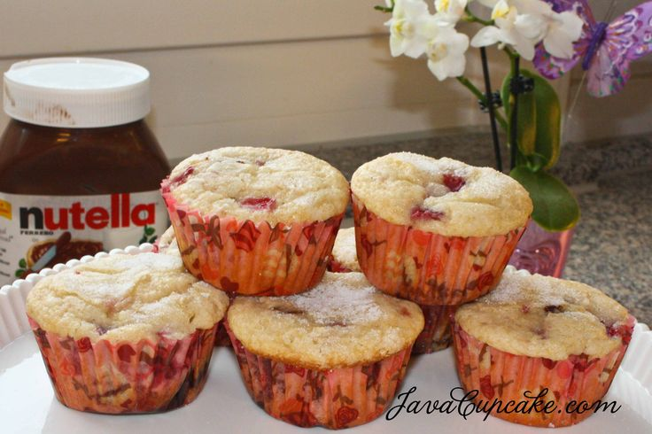 Layered Banana, Nutella & Strawberry Muffins by JavaCupcake.com for ...