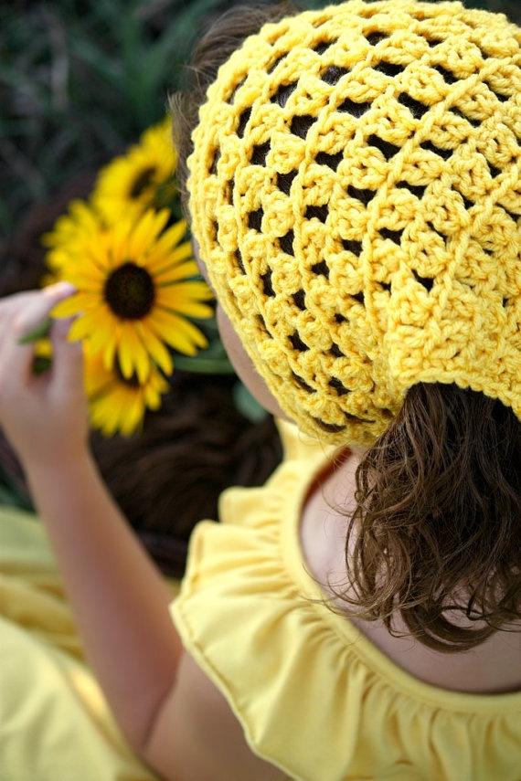 Crochet Hair Kerchief : Hair Kerchief Crochet Head Wrap Yellow Boho Hair by foreverandrea,