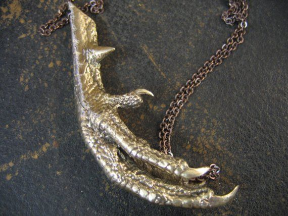 Cast Your Spell Bronze Voodoo Chicken Foot Pendant by mrd74