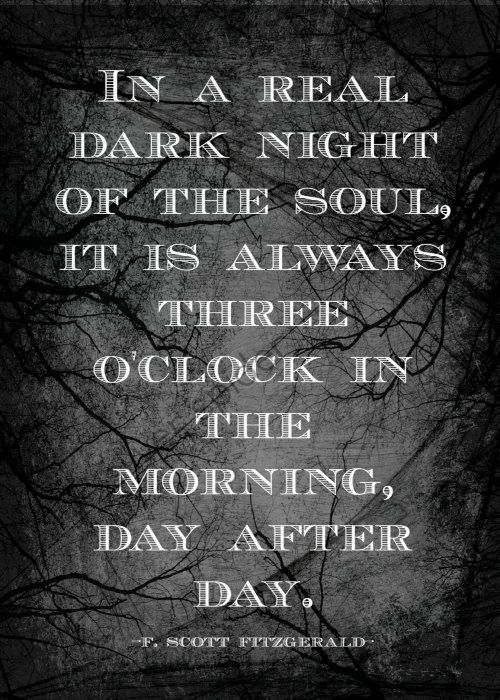 "dark nights of souls The dark night of the soul the souls on earth experiencing the dark night are cleansed with the ""dark spiritual fire of love,"" while the souls in purgatory."