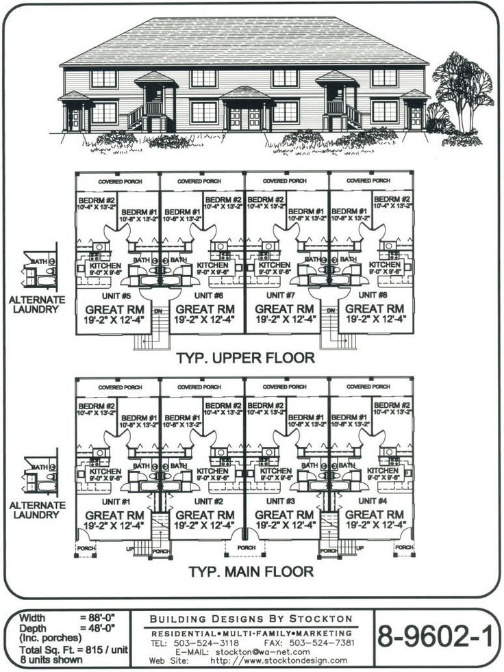 815 sq ft 2 bdr unit 2 unit building plan