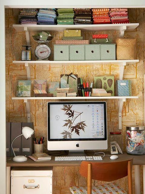 shelves on wall over work space desk job pinterest. Black Bedroom Furniture Sets. Home Design Ideas