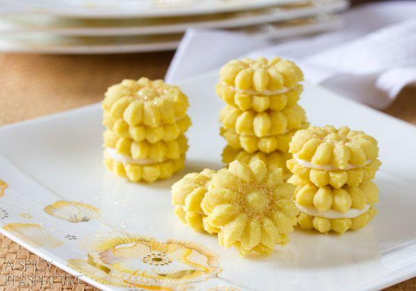 Lemon spritz cookies with lemon curd cream filling