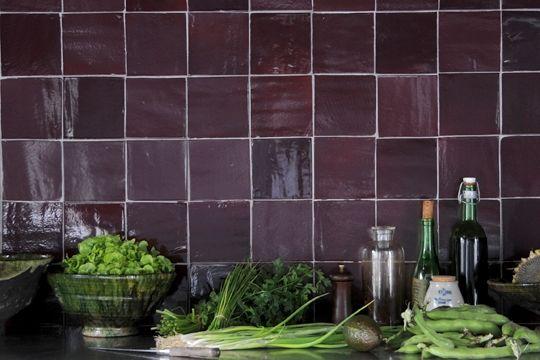 Carrelage Cuisine Moderne Maroc  Carrelage marocain prune sombre [ H