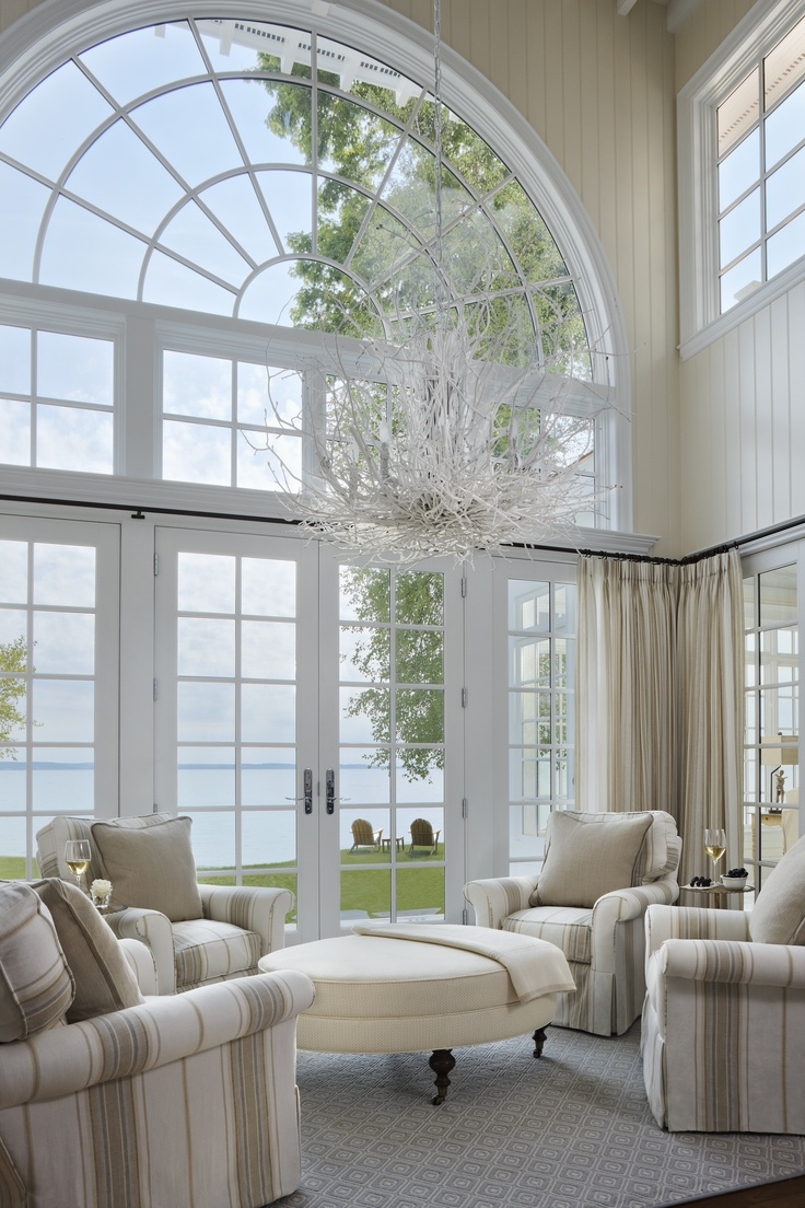 Elegant cottage great room interior styling pinterest for Elegant windows