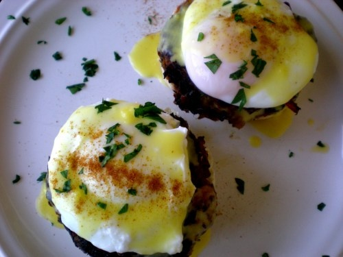 Eggs Benedict with Salmon Cakes. I would also add grilled tomato and ...