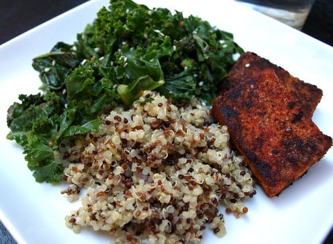 blackened tofu, stir fried kale and quinoa -- tried this and the ...