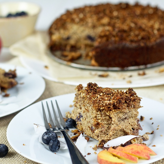 Peaches and Blueberry Coffee Cake - gluten free & no added sugar