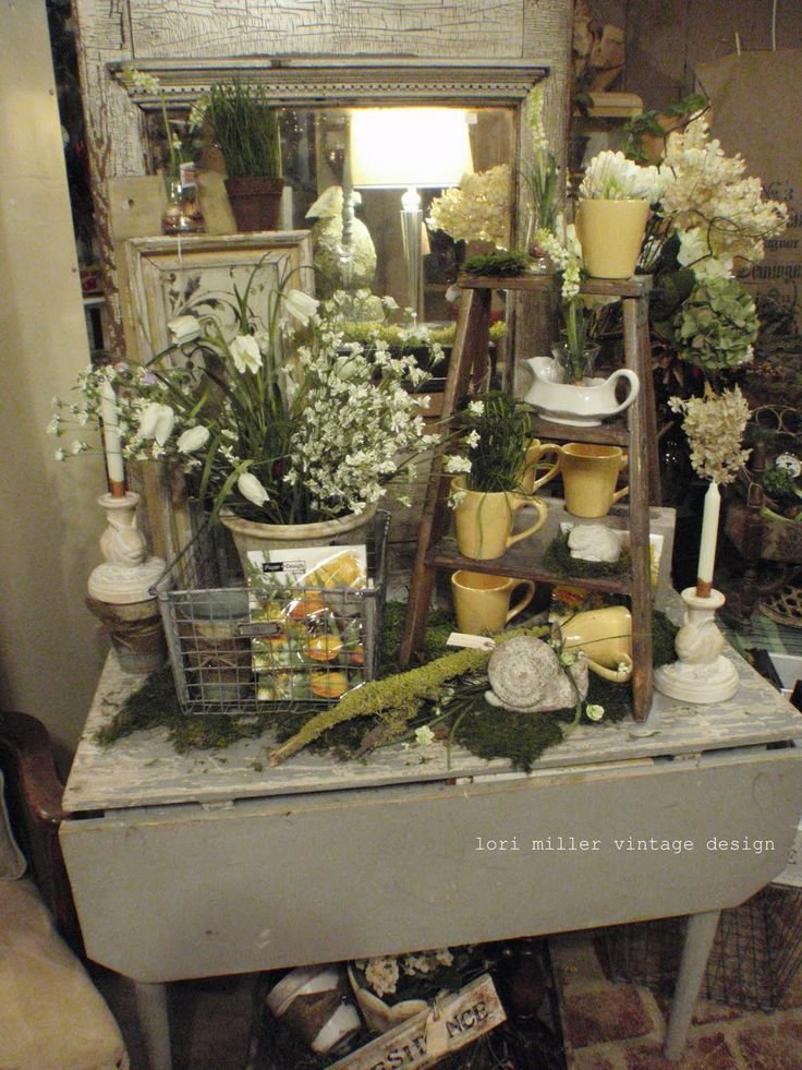 Like sheet moss on table top round barn potting co for Table top display ideas