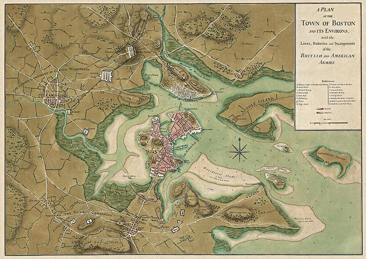 A Plan Of The Town Of Boston And Its Environs 1776 By