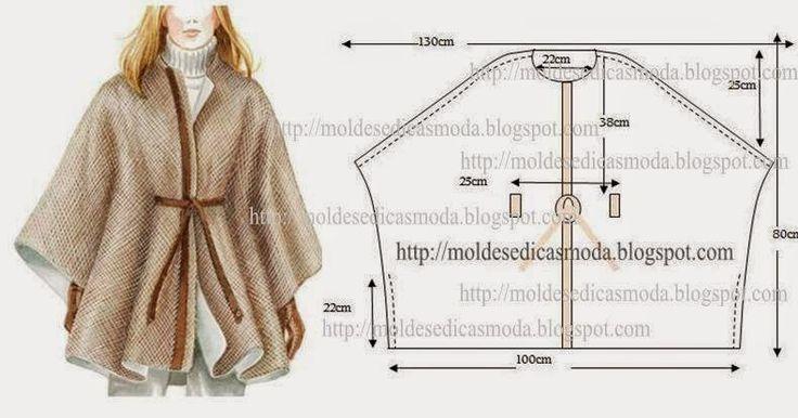 DIY cape DIY Pinterest Kumaslar, Ponchos ve Basit
