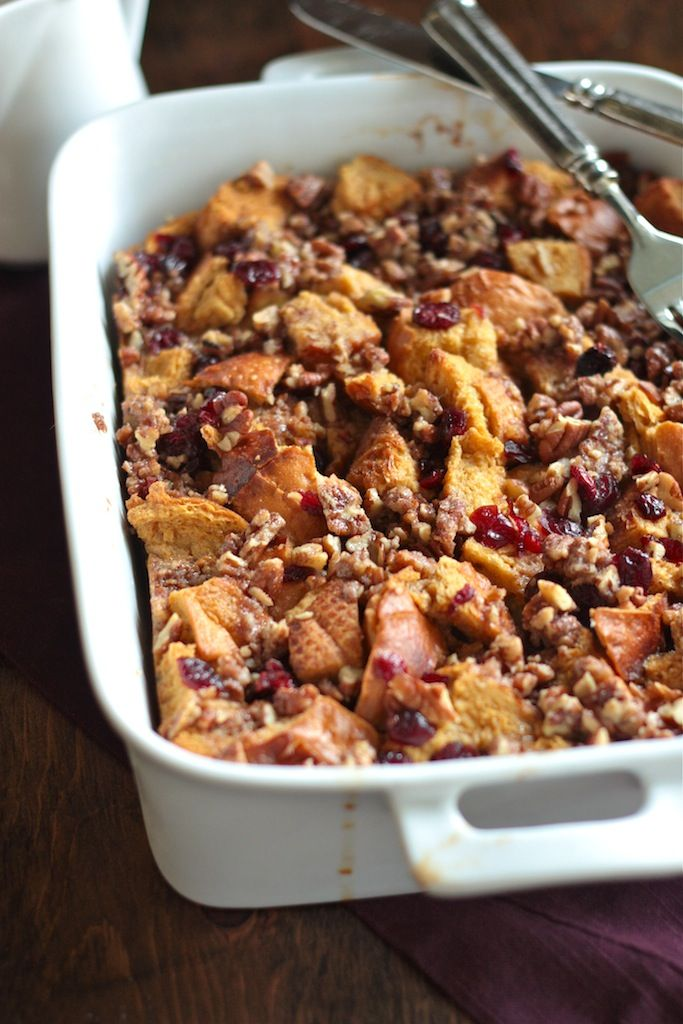 Cranberry Bread Pudding with Rum Sauce