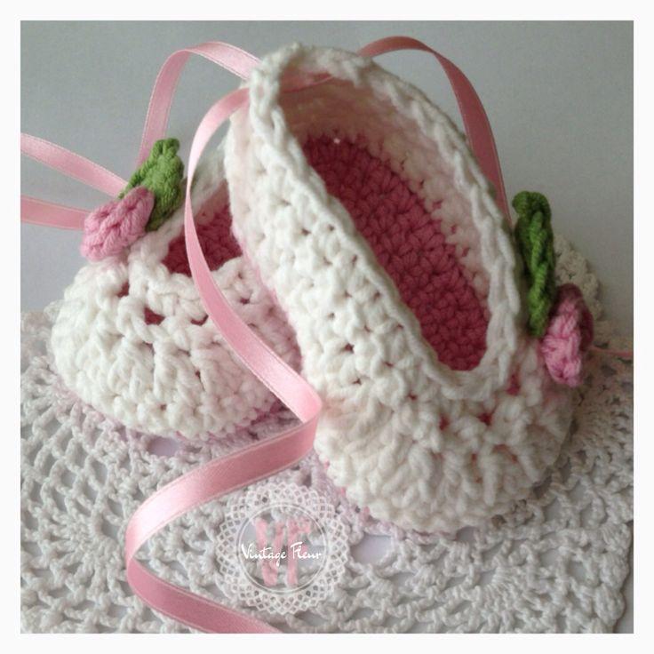 Crochet Baby Ballet Shoes Pattern : Ballet Slippers Crochet Pattern for Baby ROSEY BALLET ...