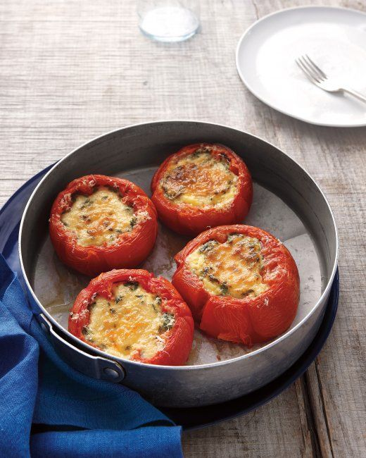 Baked Eggs in Tomatoes These tomatoes baked with corn, chives ...