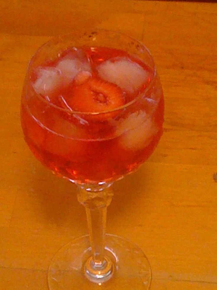 Strawberry Sangria- A bottle of Rose White Zinfandel, 1/2cup ...