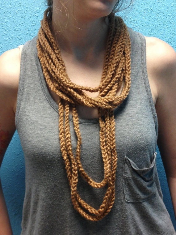 Tan Crochet Knit Summer Infinity Scarf by aprilshandmadegoods Summer Scarves Knit Crochet