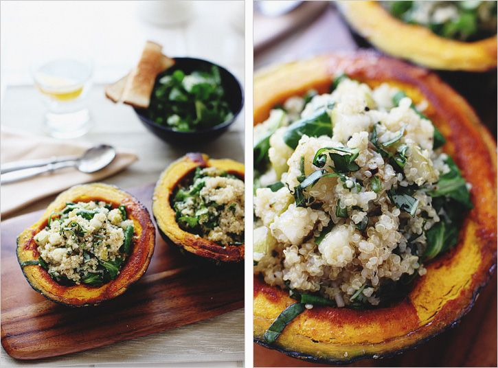 Squash Boats with Quinoa from The Sprouted Kitchen. Sub the honey for ...