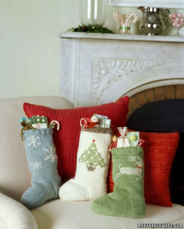 Knit Stockings : Brimming with gifts on Christmas morning, beautifully decorated handmade stockings are a delight to wake up to. Knitting a pair of socks for a friend, a new baby, or Santa is quite simple. If you can knit in the round, you already know everything you need to know to get started. Embellish hand-knit stockings with snowflakes, a tree, or a reindeer motif.