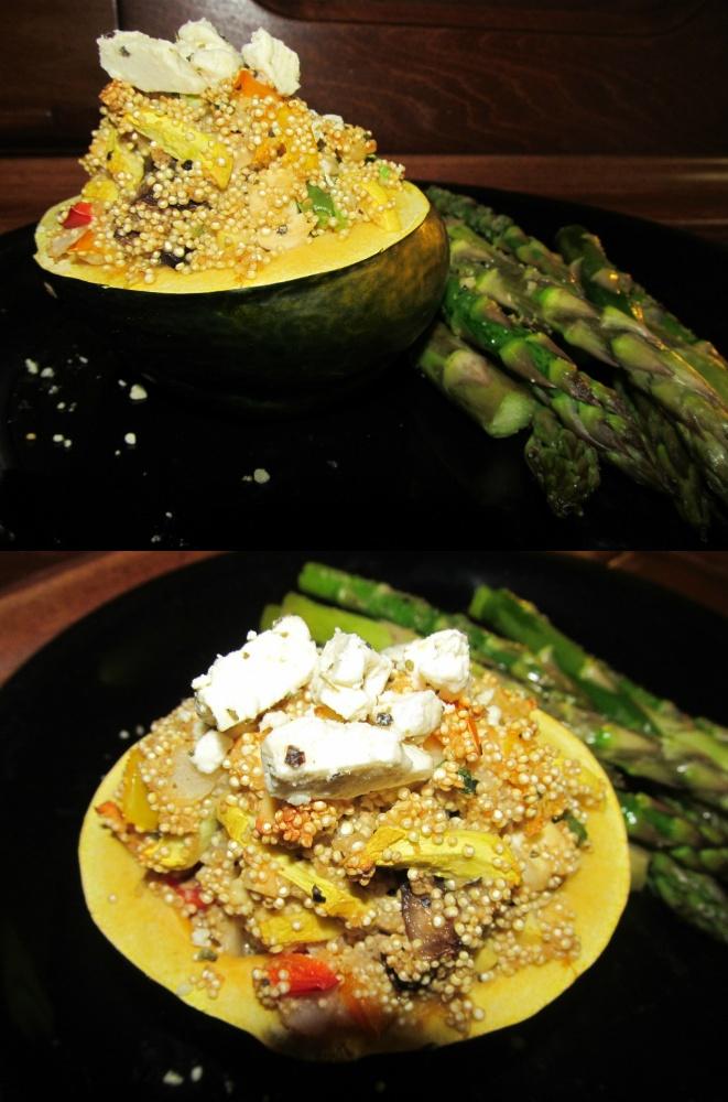 ... garlic press Slice Acorn squash in half, scoop out seed. Sprinkle with
