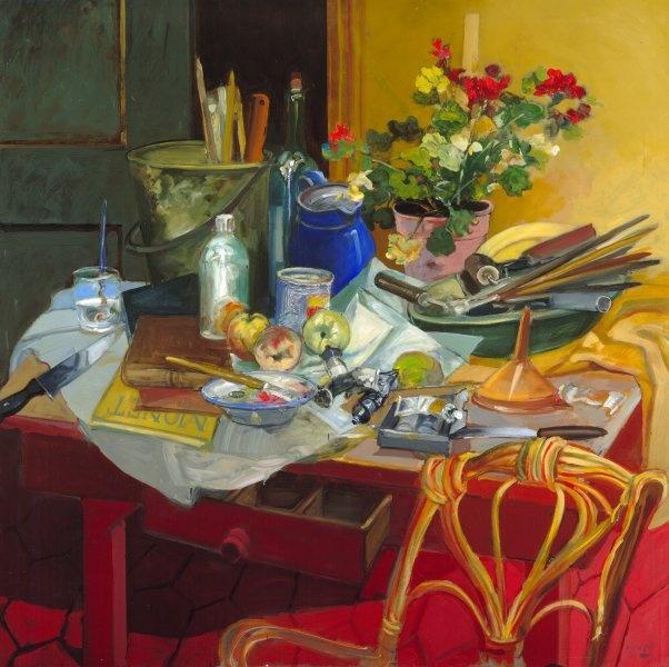 "Carlos Alonso, ""Mesa del pintor"" óleo 100 x 100 cm."