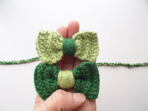 Crochet Green Hair : Green Bows Crocheted Hair clips Headband Double by theblueapricot, $14 ...