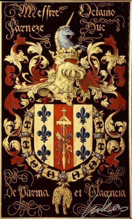 "(198) Octave FARNÈSE, 2e duc de Parme (1524-1586) -- ""Messire Octavio Farneze, duc de Parma et Placencia""-- Armorial plate from the Order of the Golden Fleece, 1559, Saint Bavo Cathedral, Gent"