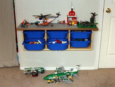 Lego table shelf w bins ikea trofast lego pinterest - Ikea trofast lego table ...