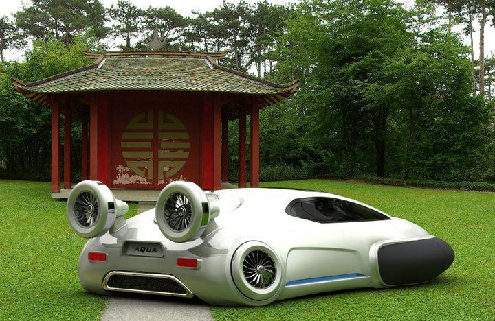 Chinese designer creates eco-friendly all-terrain car for land, water and ice.  Created by Chinese designer Yuhan Zhang, the Volkswagen Aqua would be powered by a hydrogen fuel cell and would emit zero carbon dioxide.The all-terrain vehicle, which has a top speed of 62mph and works like a hovercraft, can move seamlessly between different surfaces...