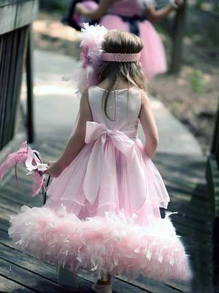 Princess Feather Bottom Double Tier Extravagance With Removable Chiffon Feathered Train Dress