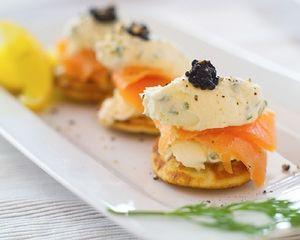 Ed Baines's smoked salmon and caviar blinis