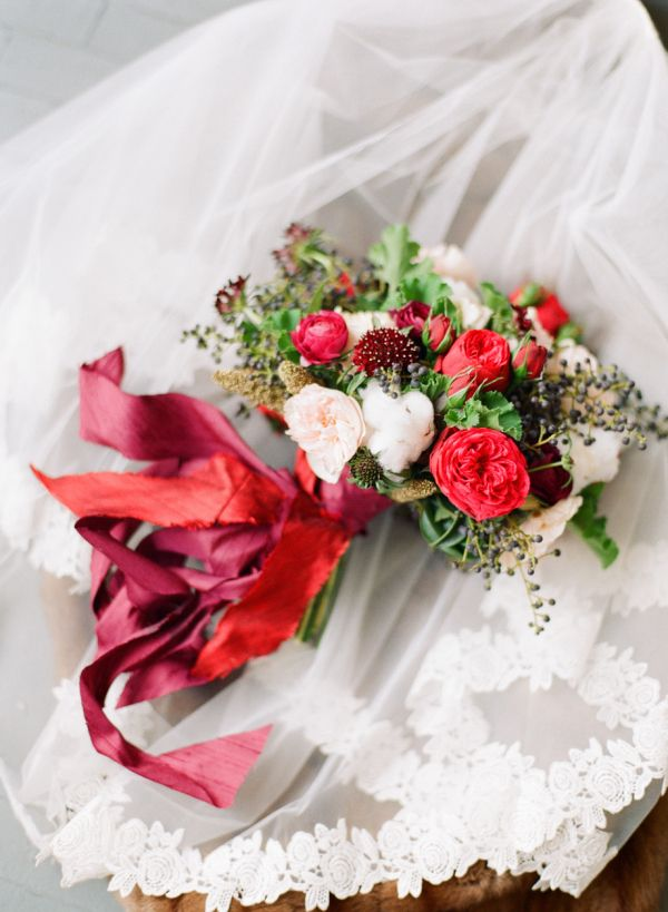 Romantic Red Ribbon Bouquet | photography by http://www.kinawicks.com/