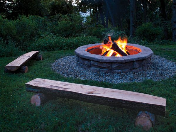 How to build a masonry fire pit i want the benches living room and family room pinterest Fire pit benches