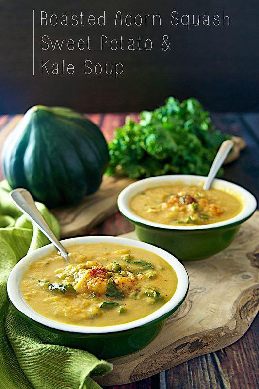 Acorn Squash, Sweet Potato and Kale Soup: acorn squash, sweet potatoes ...
