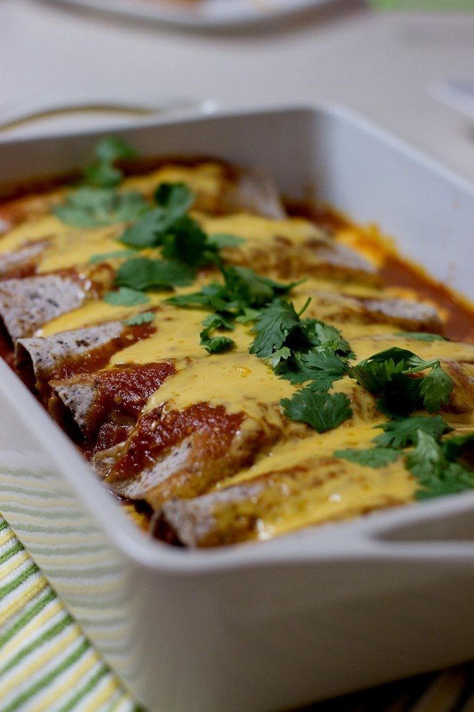 Lighter Spicy Shredded Chicken Enchiladas