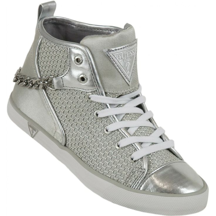 GUESS Chain High Top Trainers Silver