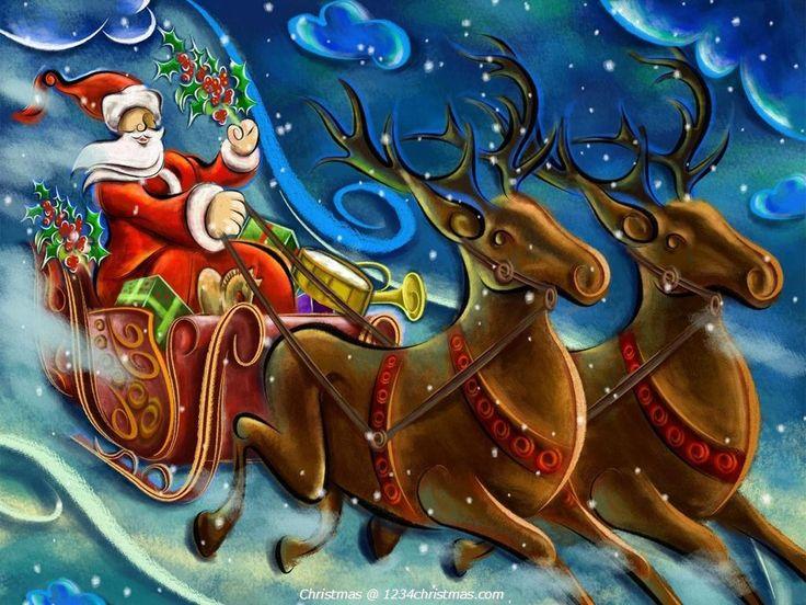 ... Claus Reindeer Desktop Wallpaper | Santa Flying Reindeer Sleigh