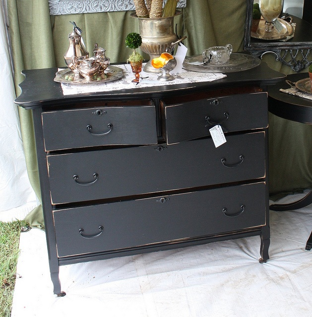 distressed black dresser For the Home