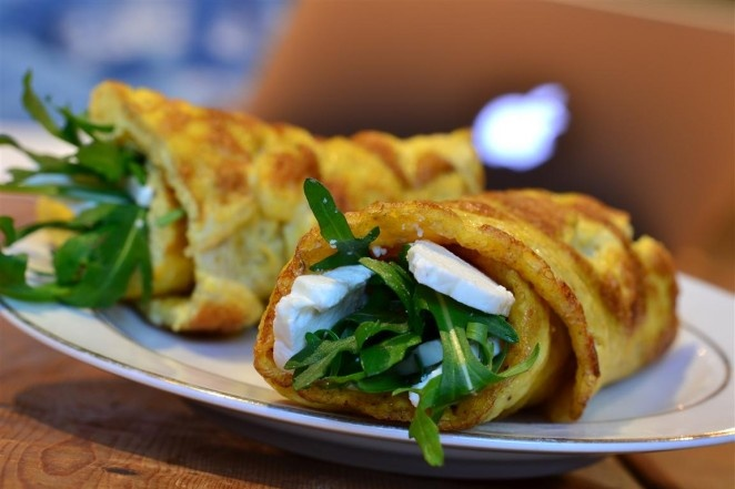 LOW CARB--Omelette roll with rocket and feta cheese. No bread involved ...