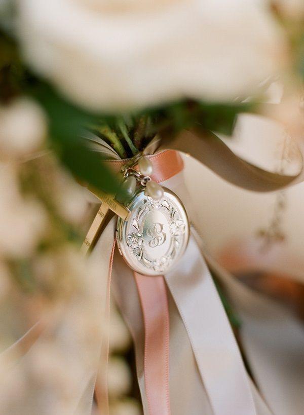 Bridal Bouquet Locket Charm : Monogrammed locket charm on bridal bouquet