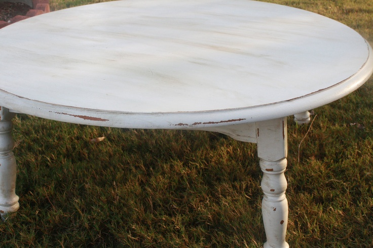 Distressed off white round coffee table home pinterest for Distressed white round coffee table