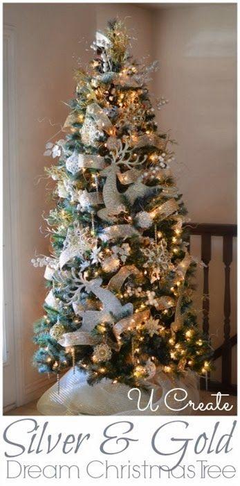 Silver Gold Christmas Tree Christmas Season Pinterest
