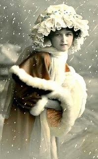Winter, Victorian Lady, snow cloak, muffs, tinted