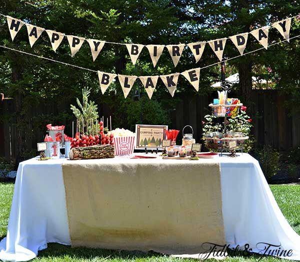 Decorations For Backyard Birthday Party :  Twine Backyard Birthday Campout Backyard Campout Birthday Party