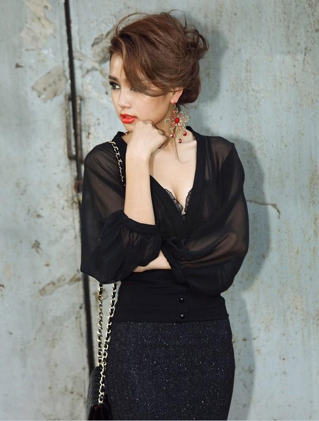 Elegant Sexy Cotton Black Blouse Bat Sleeves