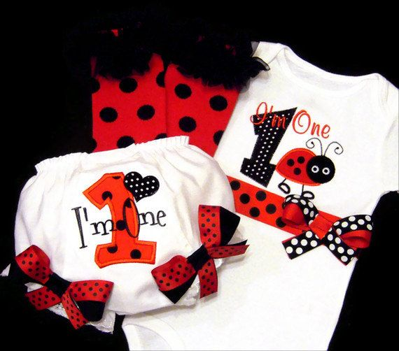 Ladybug First Birthday Girl Outfit, I'm One, Baby Toddler
