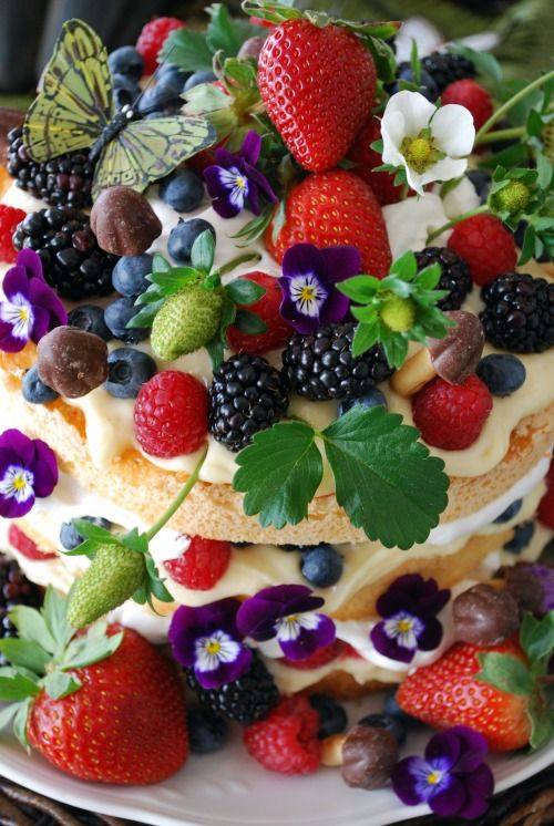 """Wow... beautiful dish: angel food cake layered with whipped cream and lemon curd and topped with berries, violets and """"chocorooms"""""""