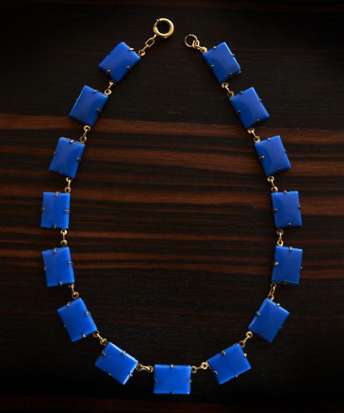 1920-30s Art Deco Blue Glass Rectangle Necklace