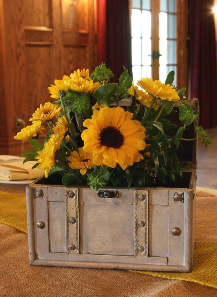 Sunflower centerpiece barn wedding pinterest